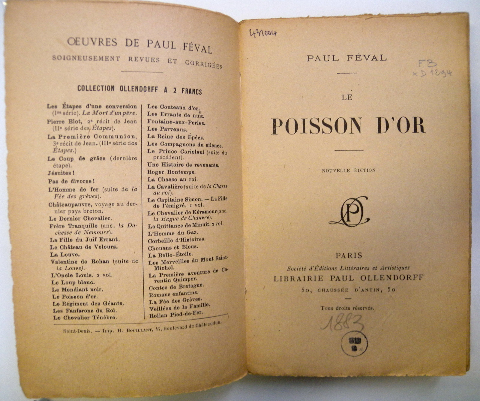 paul féval poisson d'or