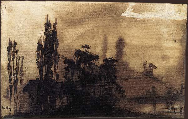 Victor Hugo et le Japon dans Peinture hugo_dessin_souvenir_de_l_etang_du_bois_de_bellevue_1845_les_miserables_les_miz_comedie_musicale_musical